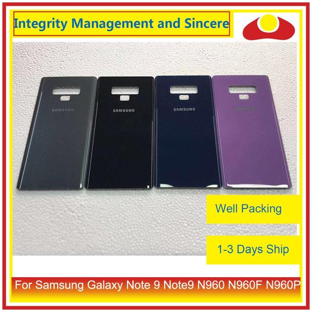 50 pçs/lote para samsung galaxy note 9 note9 n960 n960f n960p n9600 habitação porta da bateria traseira de vidro capa caso chassis escudo