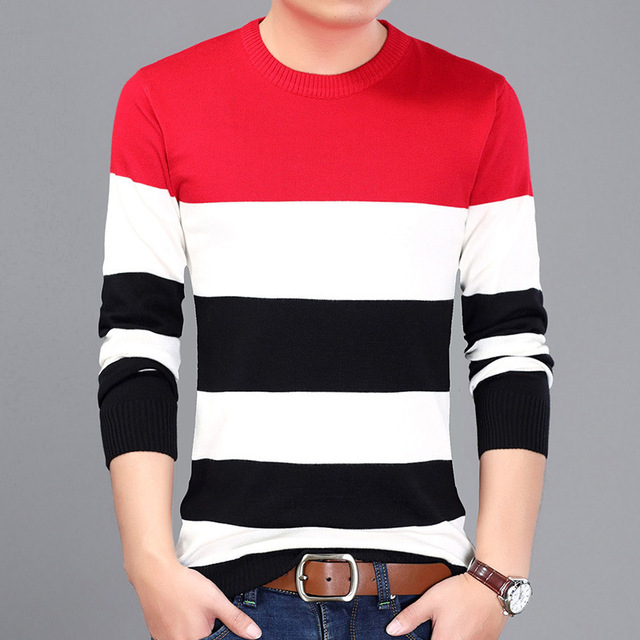 74a82c270 Autumn And Winter Red Grey Blue Color Mens Striped Sweater 2017 ...