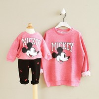 2017 Autumn Mother Daughter T Shirts Mickey Cartoon T Shirts Long Sleeve Matching Mother Daughter Clothes