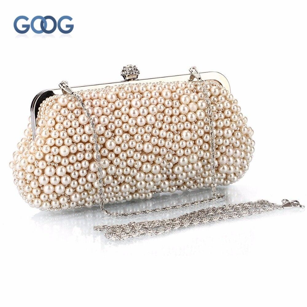 GOOG.YU Handicrafts Made Unique Design Fashion Pearl Bag Elegant Simple Generous Beads Women Handbags Messenger Evening Bag xml made simple