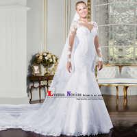 vestido branco Cheap Lace Mermaid Wedding Dresses 2018 Sexy O-Neck Long Sleeve Wedding Dress China Bridal Gown robe de mariee