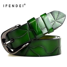 IFENDEI Fashion Green Split Leather Belt Women 's Casual Black Belt For Jeans Cowhide Retro Buckle Strap High Quality 95cm 105cm