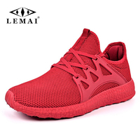 LEMAI New Simple Men Running Shoes Summer Autumn Breathable Mesh Boy Red Sneakers Male Outdoor Sport