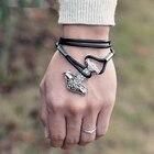 Viking bracelet God hammer Symbol of power bronze and ancient silver charm bracelet jewelry for man