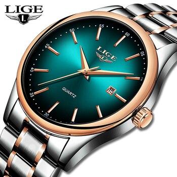Часы LIGE мужские, модные, деловые, кварцевые, камуфляжные, спортивные, водонепроницаемые