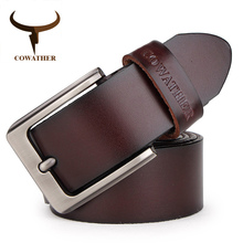 COWATHER men belt cow genuine leather designer belts for men high quality fashion vintage male strap for jeans cow skin XF002 cheap Adult Metal Cowskin 3 7cm Solid black coffee brown hight quality casual 3 8 cm Guangdong China (Mainland) plate buckle