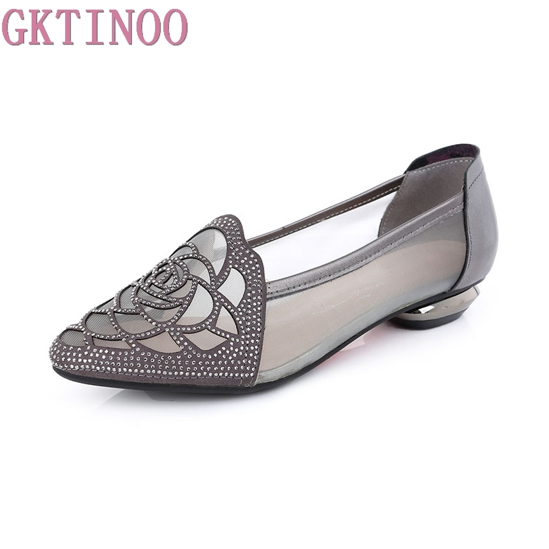 GKTINOO Flats 2019 Summer Sandals Woman Rhinestone Cut Outs Gauze Women Shoes Genuine Leather Pointed Toe