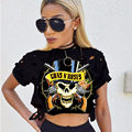 Fashion summer women casual sexy GUNS N ROSES skull print short sleeve ripped cropped t shirt tee tshirt camisetas mujer tops