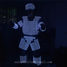 New White Color LED Luminous Light Up Flashing Robot Suit Costume With Helmet For Nightclubs Party Supply DJ Dance Clothes