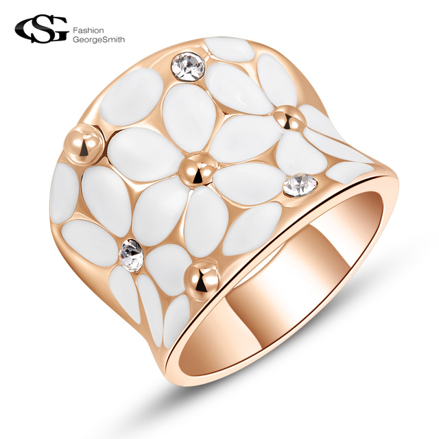 GS 2018 Elegant Women Rings Classic Drip Flowers Rings for Women Top AAA Zircon