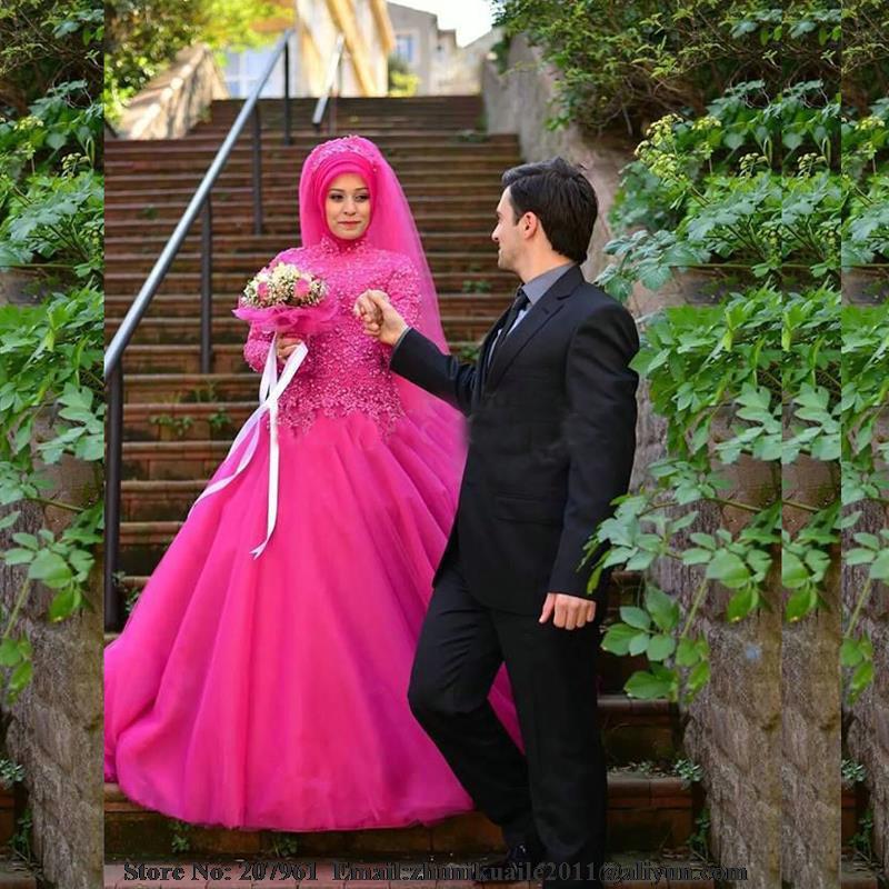 Hot Sale High Neck Long Sleeve Hot Pink Ball Gown Turkish Wedding ...