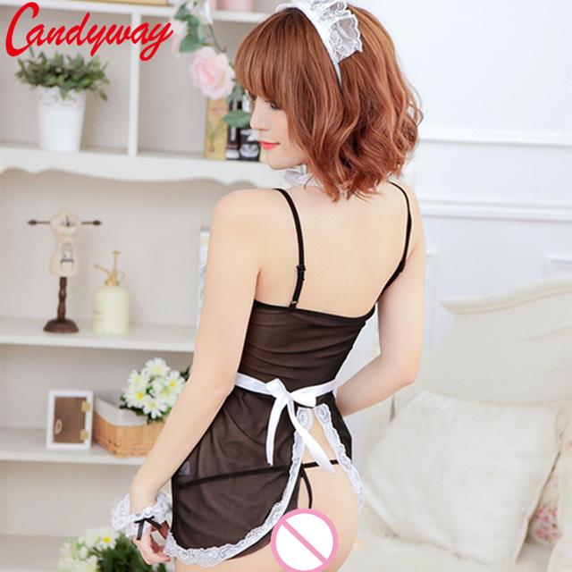 Women Sexy Lace Cosplay French Maid Uniform Sexy Costume Babydoll Erotic Lenceria Porn GB006