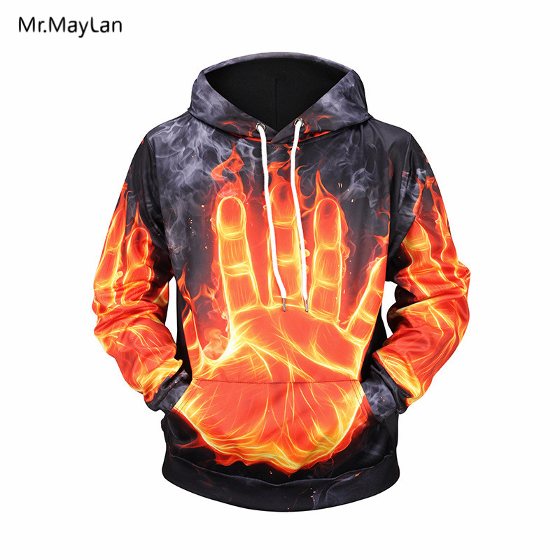 802403ddd8 Hot!!! Cool Palm Fire Flame 3D Print Hoodies Women/Men Harajuku Hip Hop  Streetwear Pullovers Hat Sweatshirts 2018 New Mens Tops Clothes-in Hoodies  ...