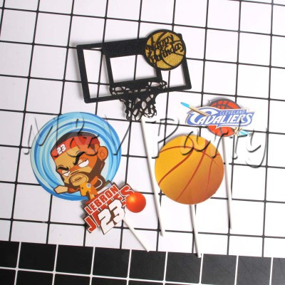 Bands Without Stones 4pcs/set Cartoon Basketball Theme Cartoon Cake Topper Party Decoration Birthday Cake Topper Birthday Baby Shower Party Supplies To Win Warm Praise From Customers