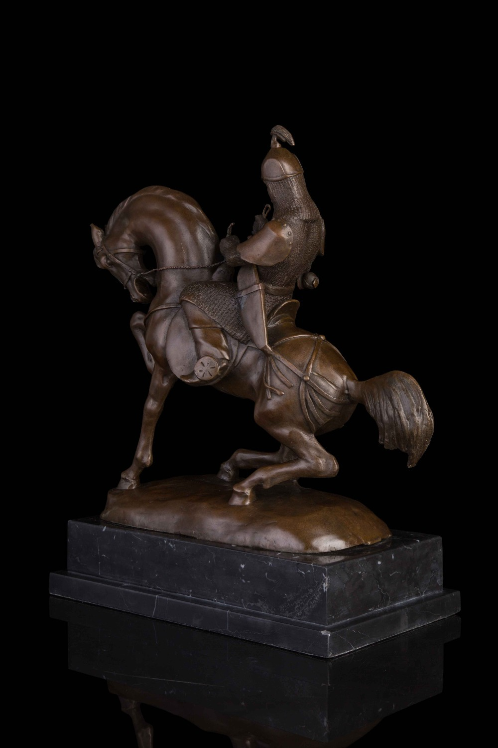 Arts Crafts Copper Top Quality Bronze Sculpture Roman warriors statues bronze statue with natural maeble base souvenirs home dec in Statues Sculptures from Home Garden