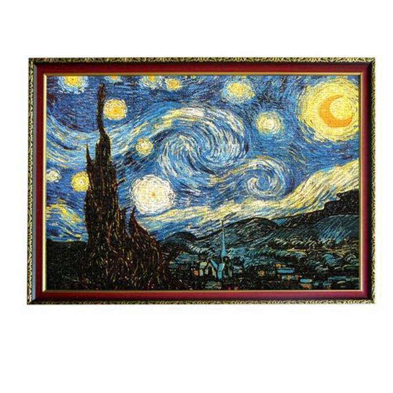 Puzzle Adulto Puzzle 3D 2000 Pezzi Vecchio Maestro della Pittura A Olio Notte Stellata di Legno Puzzle di Carta