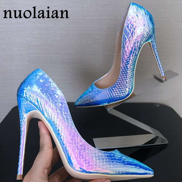 8 10 12CM Women High Heel Shoe Summer High Heel Sandal Shoe Thin Heels Sandals Woman Big Size Pumps Snake Printing Leather Shoes