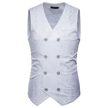 Suit Vest Dress White Gilet Waistcoat Men Wedding Double-Breasted Paisley Costume Slim-Fit