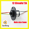 Senring  through hole mini hole size 5mm 12 circuits/wires contact of capsule slip ring with flange
