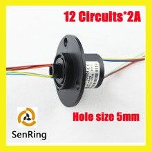 Senring através do orifício mini tamanho do furo mm 12 5 circuitos/fios de contato cápsula anel coletor com flange
