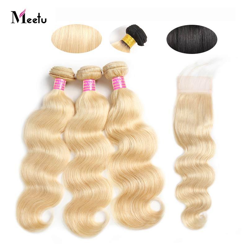 Meetu Blonde Body Wave Hair Bundles With Closure Remy 613 Bundles With Closure Brazilian Hair Weave Bundles With Closure 4Pcs