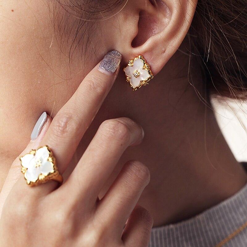 925 argent Zircon oreille goujon bijoux femmes cour européenne style vintage - 6