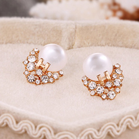 Round Clear Opal Stone Crystal Surrounding Golden Letter Women Stud Earrings