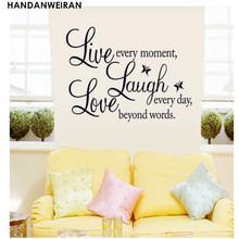 цена на FREE SHIPPING!Butterfly Motto English Love Laugh Live Wall Stickers Bedroom Livingroom Sofa Backdrop Stickers Home Decoration