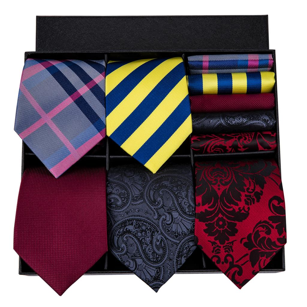 Hi Tie 2018 Hot Sell Necktie Hanky Cufflinks Set For Men Different Patterns New Fashion Style