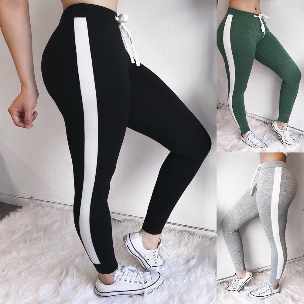 Solid Color Women Pants Color Block Tie Waist Yoga Jogger