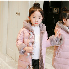 A long winter children's coat with children's wear and cotton padded jacket