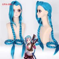Coshome LOL Jinx, pelucas de Cosplay para mujeres, trenzas de cola de caballo doble azul para niñas, pelo largo de 120cm para fiesta de Halloween