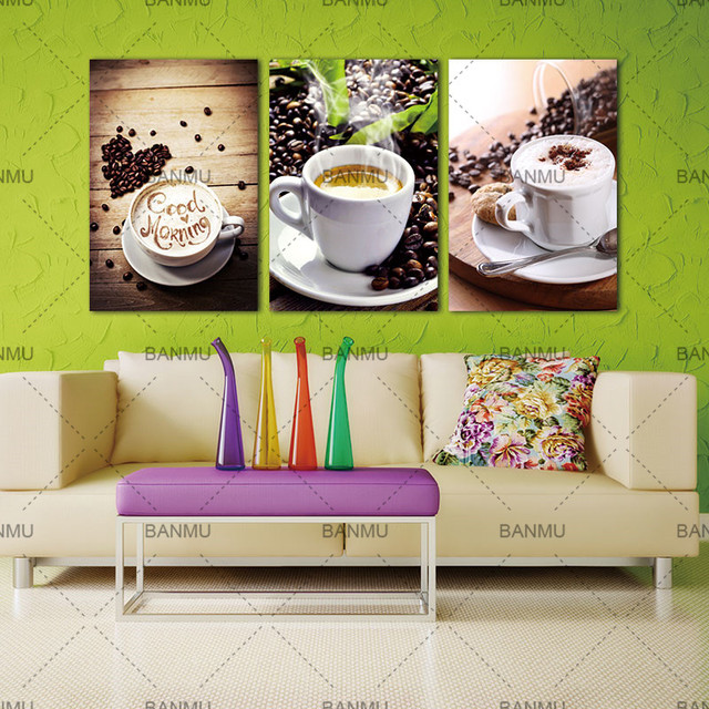 3 Panels Wall Art Picture Canvas Paintings Wall Decoration Unframed Canvas Photo Prints Modern Kitchen Scene Coffee