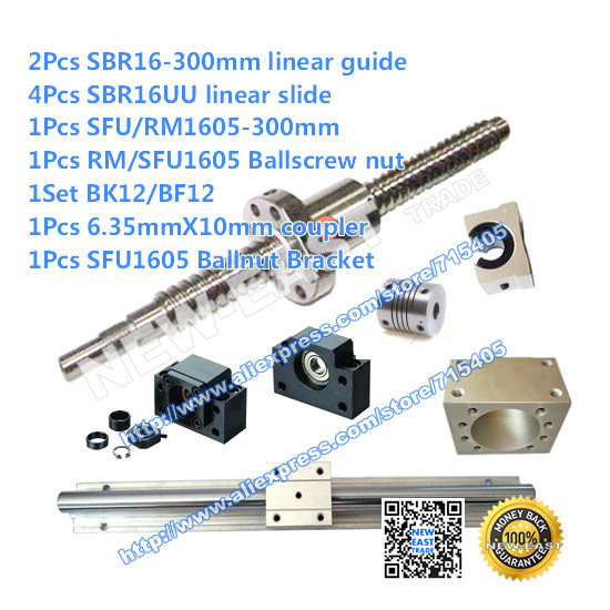 2X SBR16 L = 300mm +1pcs RM1605 - 300mm + BK/BF12 + Couplers 6.35 * 10+1pcs RM1605 Ballscrew nut +1Pcs SFU1605 Ballnut Bracket thumbnail