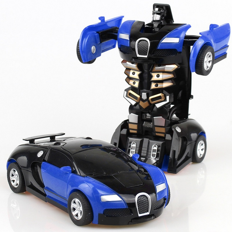 Juguete del bebé coches modelo Mini coche inercia juguete transformación Robot figura Autobot rollo antideslizante Bugatti