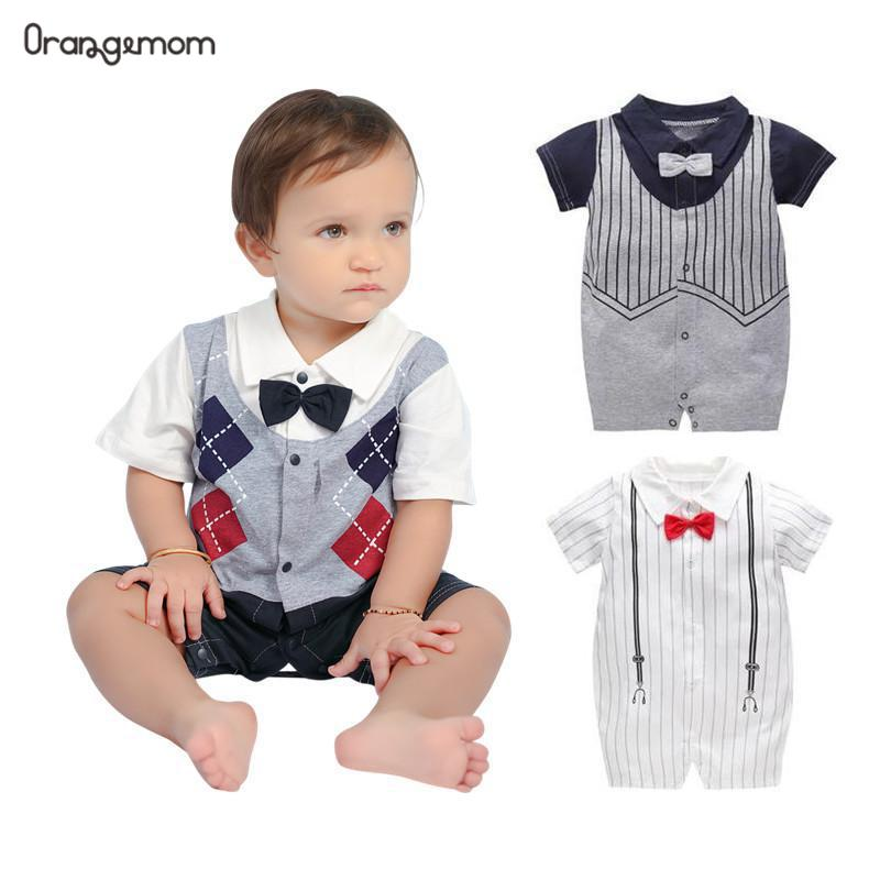 2019 summer baby boy   romper   gentleman jumpsuits newborn infant boy clothing cheap Import Baby Clothes cotton grandma gift