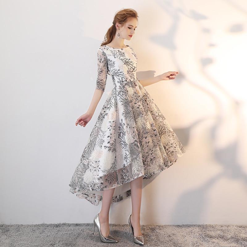 Elegant O-neck Half Sleeve Lace Prom Dress