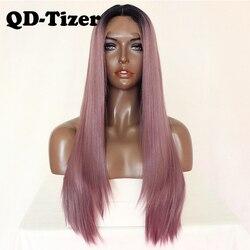 QD-Tizer Paars Rechte Synthetische Lace Front Pruik Zwart Ombre Mix Paars Haar Pruik Hittebestendige Lace Front Pruiken voor Zwarte Vrouwen