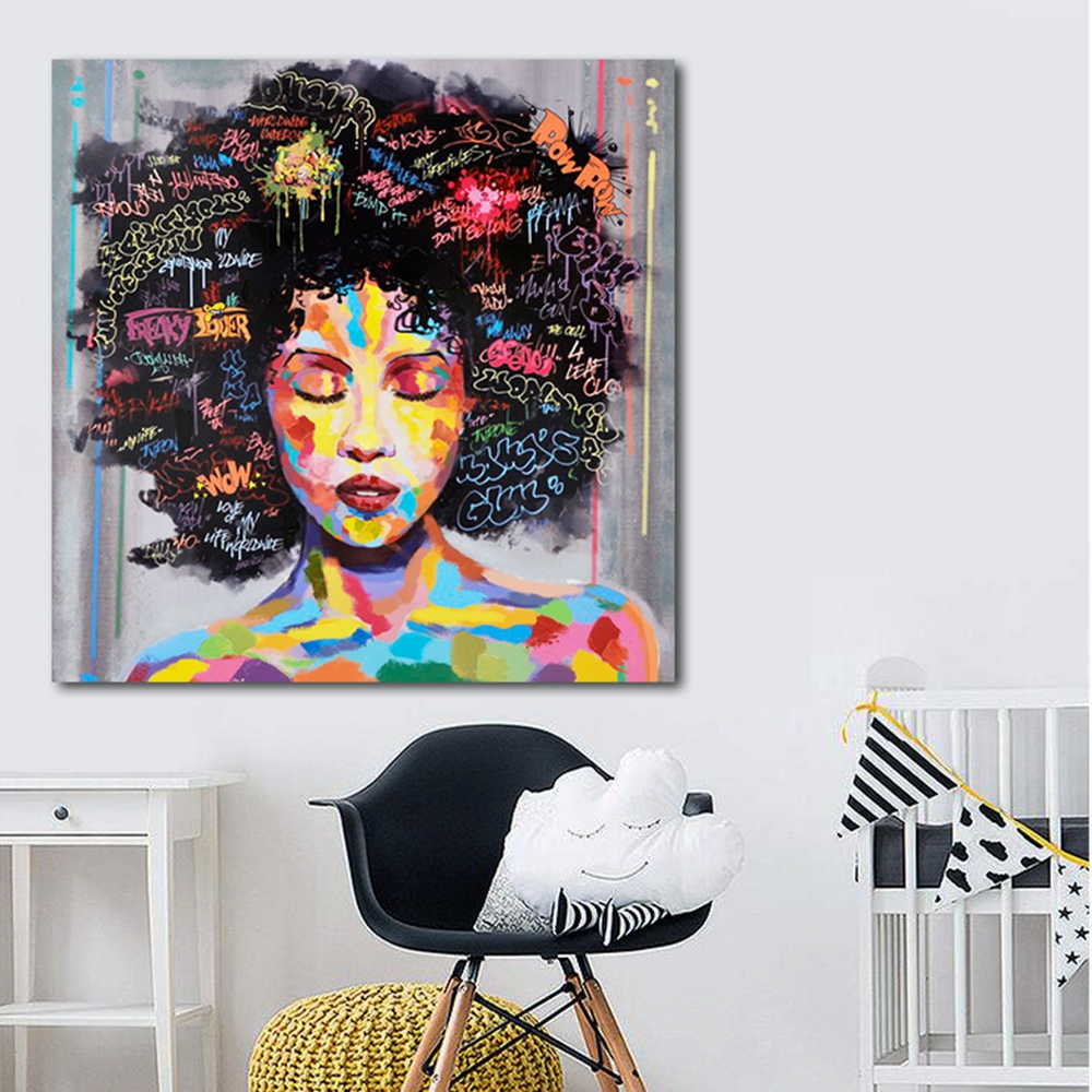Portrait Wall Art Abstract Nude American African Canvas Painting Living Room Poster -3829