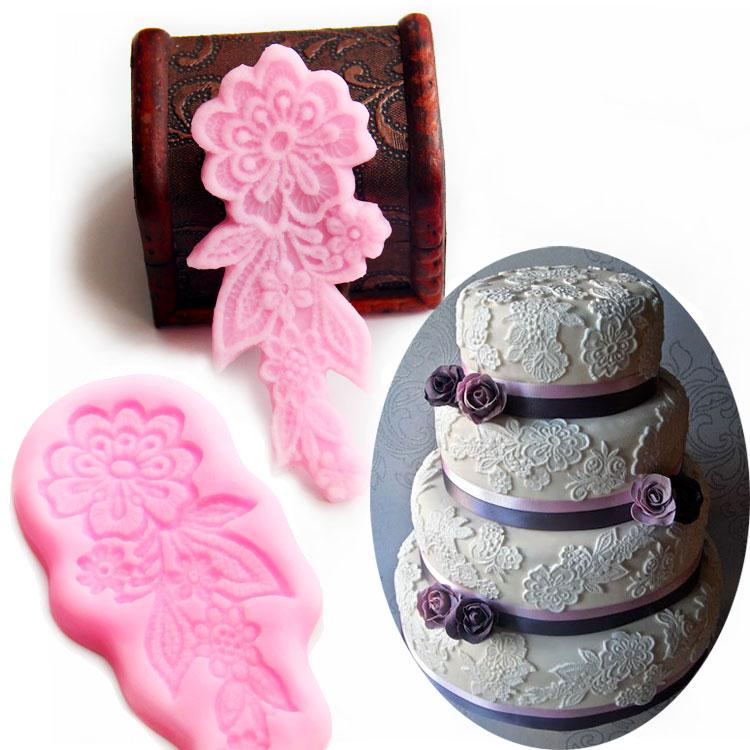 2pcsset Floral Sugar Lace Mat Silicone Mould Flower Sugar Craft