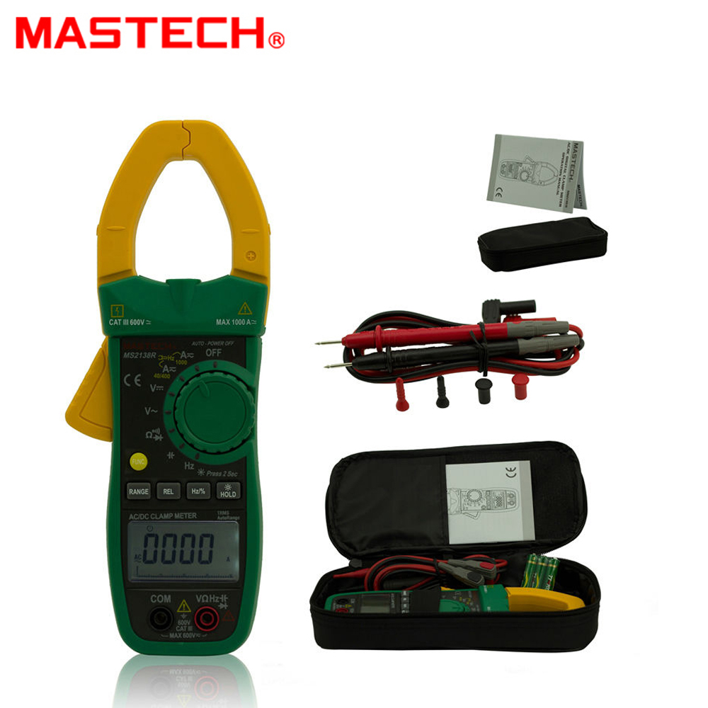 MASTECH MS2138R 4000 Counts Digital AC DC Clamp Meter Multimeter Voltage Current Capacitance Resistance Tester mastech ms2001c digital clamp meter multimeter ac dc voltage current diode resistance measurement