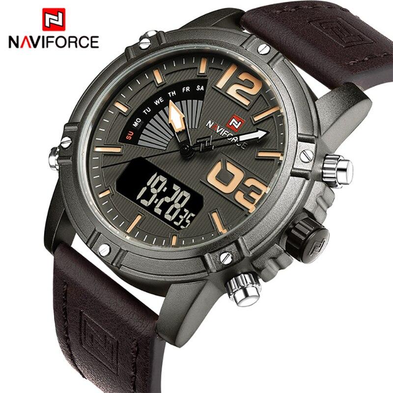 b39eca105471 Naviforce hombres relojes Top marca de lujo de cuero reloj hombre moda  Militar deporte relojes Relogio masculino Reloj con caja