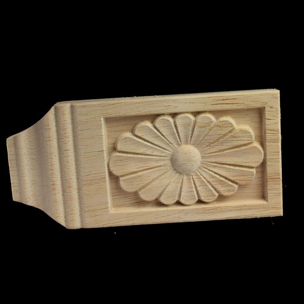 Long Wood Carving Applique Oak Furniture Decorative Mouldings Decal Cabinet Door Figurine Craft Flower Board 13CM 17CM in Figurines Miniatures from Home Garden