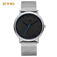 EYKI просто ультра тонкий Для мужчин Часы Милан хороший Сталь ткань на Элитный бренд кварцевые часы Для мужчин Водонепроницаемый 30 м Для Мужч...