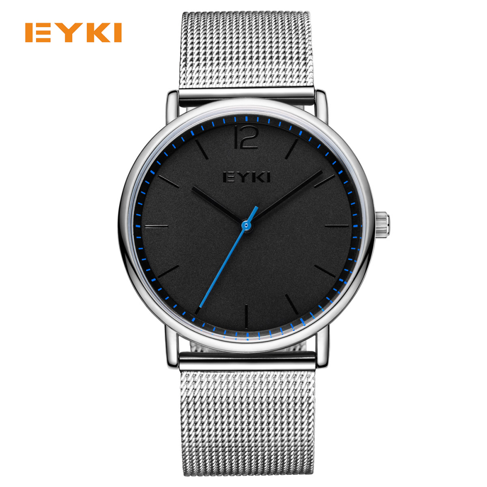 EYKI Simple Ultra Thin Men Watches Milan Nice Steel Weave Strap Luxury Brand Quartz Watch Men Waterproof 30m Mens Wrist Watch