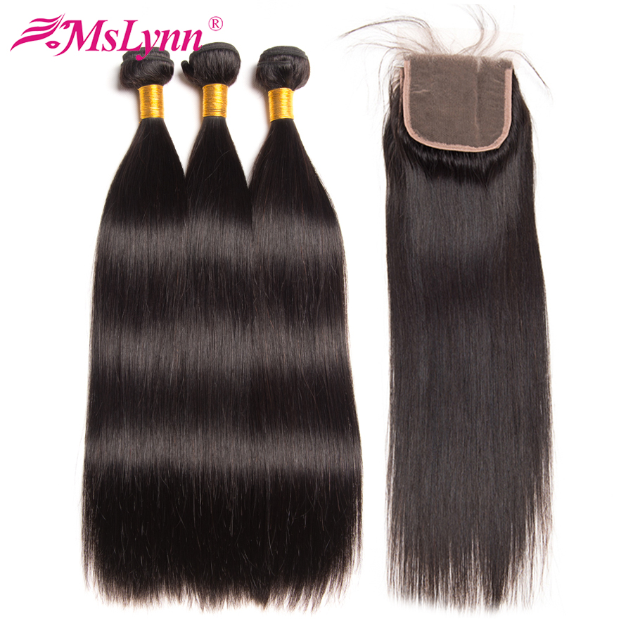 Mslynn Hair Bundles With Closure Indian Straight Hair 3 Bundles With Closure Human Hair With Closure