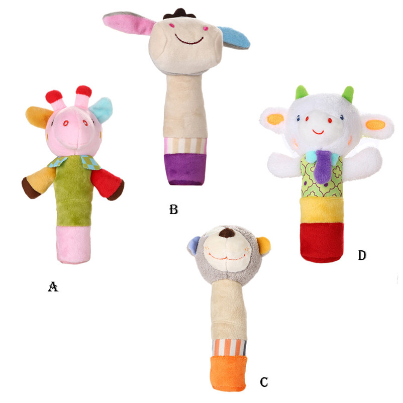Hot 1Pc Baby Kids Cute Animal Plush Rattles Hand Bells Owl Bear Deer BB Sound Educational Funny Toys Gift for Newborn P5