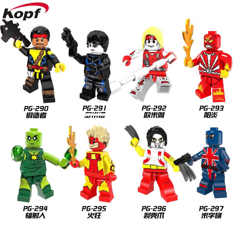 Single Sale Super Heroes Forge Pyro Domino Radioactive Man Union Jack Omega Bricks Building Blocks Children Gift Toys PG8082 toys union напольная мозаика рыбка 25 деталей д 58 мм toys union