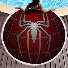 3D Spider Round Beach Towel red color Bath Microfiber Fabric 150cm Size