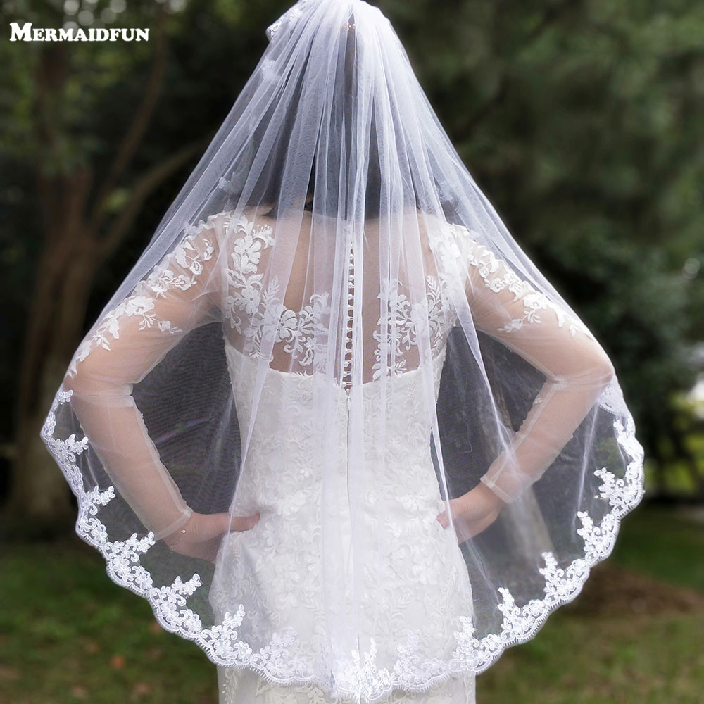 New Arrival Single Tier Lace Edge Short Woodland Wedding Veils With Comb High Quality White Ivory Bridal Veils